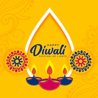 装飾的な平らな黄色のディワリ祭の願いカード