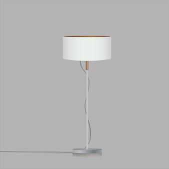 Декоративная напольная лампа-тренога. оригинальная модель с белым шелковым абажуром и металлической ножкой. для иллюстрации гостиной, спальни, кабинета и офиса