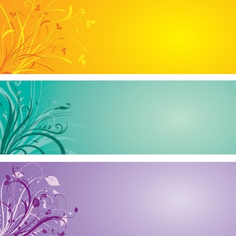 Набор декоративных цветочных баннеров