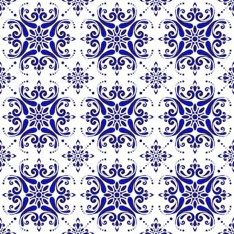 Декоративный цветочный синий узор