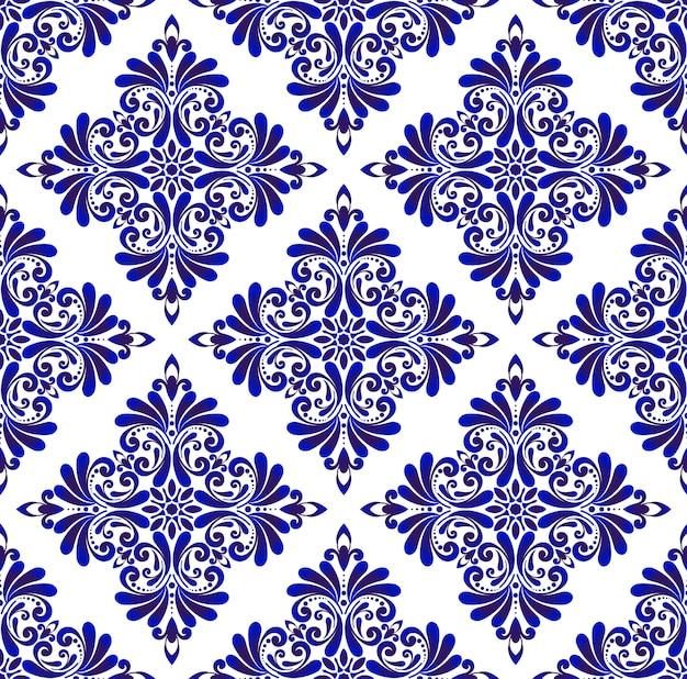 Decorative floral blue seamless pattern