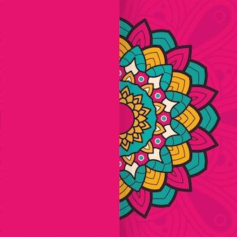 Декоративный цветочный красочный дизайн иллюстрации этнической принадлежности половины мандалы