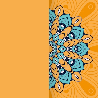 Decorative floral colorful half mandala ethnicity illustration design