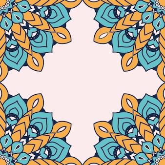 装飾的な花のカラフルな曼荼羅フレームイラスト