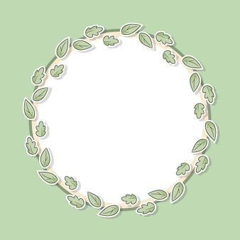 Decorative floral frame with green leaves.