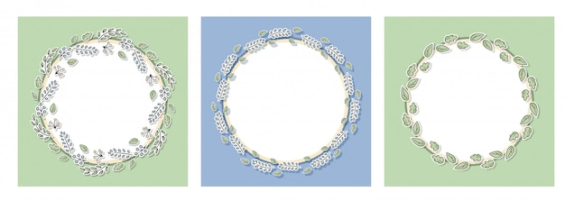 Decorative floral frames set with green leaves and branches