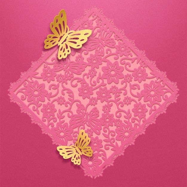 Decorative floral hollow spring couplet and golden butterflies in paper art