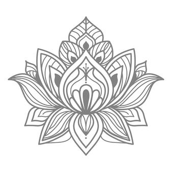 Декоративная цветочная иллюстрация лотоса в этническом восточном стиле