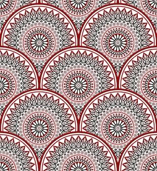 装飾的な花のマンダラパターン、美しいバティックカラフルなパッチワーク