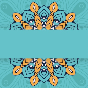 Decorative floral mandala with green background vector illustration design