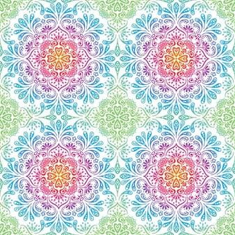 装飾的な花のモザイクパターン 無料ベクター