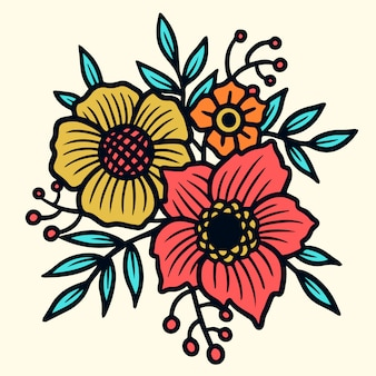 Fiori Old School.Old School Tattoo Red Roses With Leaves Set Premium Vector