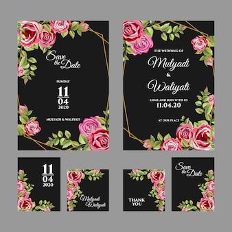Decorative floral ornament wedding invitation template