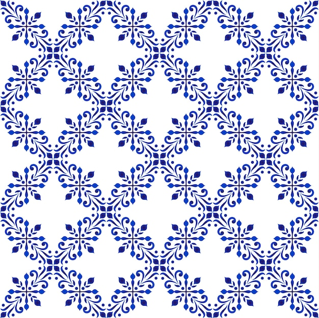 Decorative floral pattern blue and white, porcelain background