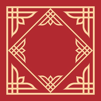 Decorative floral pattern frame art in red background