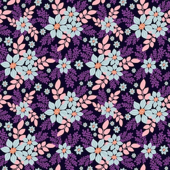 Decorative floral seamless pattern in small blue flowers