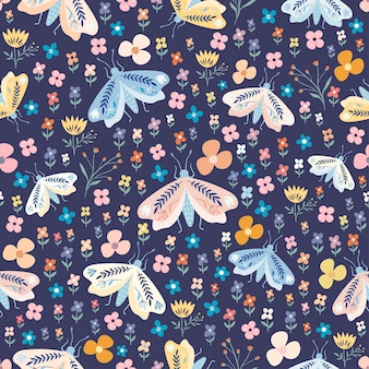 Decorative floral seamless pattern with colorful moths and flowers