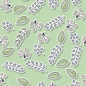 Decorative floral seamless pattern with leaves and branches.