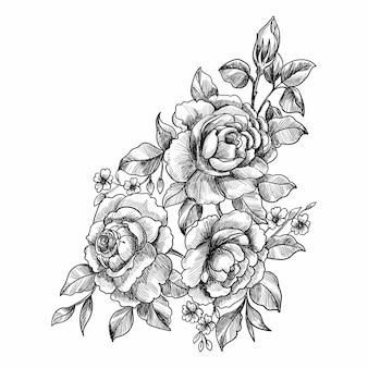 装飾的な花のスケッチ
