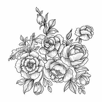 장식 꽃 스케치
