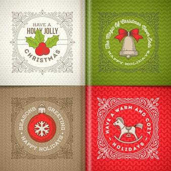 Декоративная рамка с рождественскими поздравлениями и символами