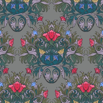 様式化された赤いケシとブルーベルの装飾的な花の組成物。中世ゴシック様式のシームレスなパターン。