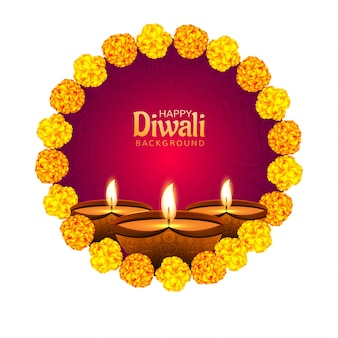 Fiore decorativo su diwali diya per sfondo carta festival