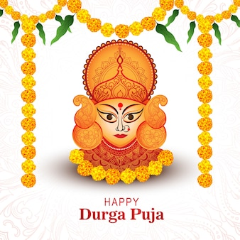 Decorative flower for happy durga pooja indian festival card
