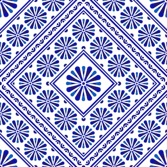Decorative flower tile pattern