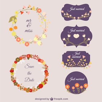 Decorative flower wreaths and badges
