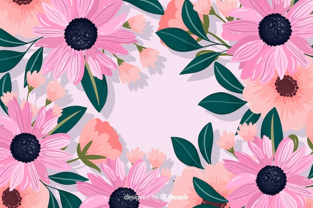 Decorative flowers background flat design