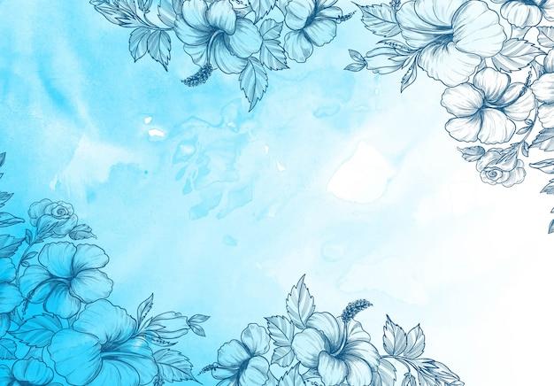 青い水彩デザインと装飾花の背景