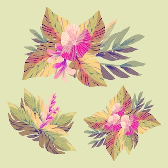 Decorative flowers bundle flat style