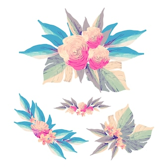 Decorative flowers collection flat design