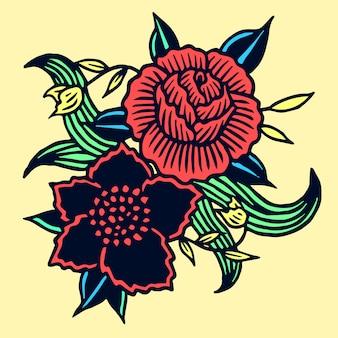 Decorative flowers illustration old school tattoo vector