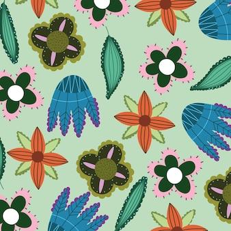 Декоративные цветы листья цветочный узор природы бесшовный дизайн