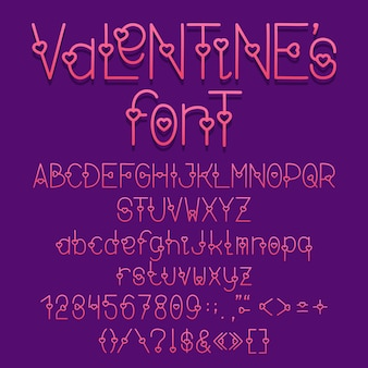 장식 글꼴 사랑 심장 문자 전체 세트 기호 및 숫자와 알파벳