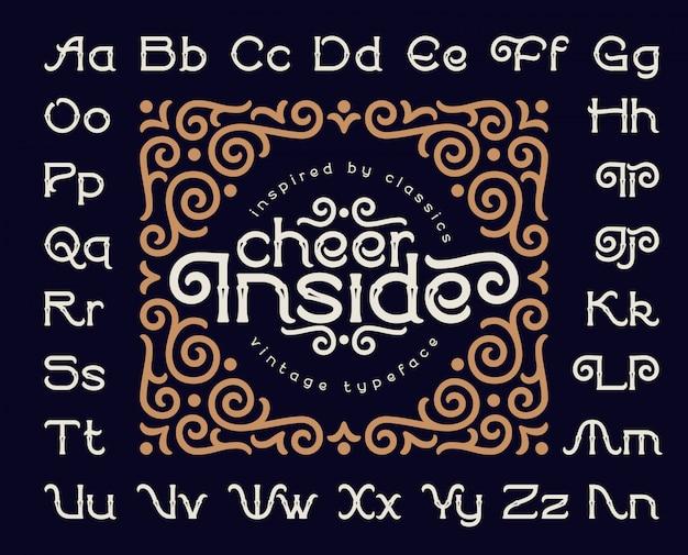 Decorative font set with vintage ornament