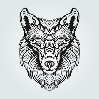 Decorative fox face line art in black and white