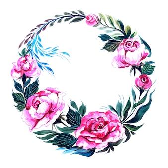 장식 프레임 원형 꽃 무늬 디자인