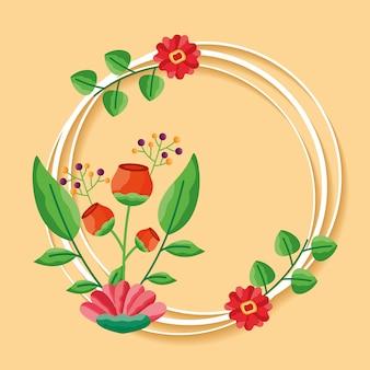 Cornice decorativa con foglie e fiori