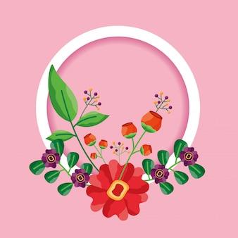 장식 프레임 꽃 잎 장식
