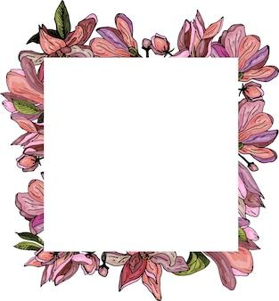 Декоративная рамка из цветов магнолии нежная открытка-приглашение на свадьбу