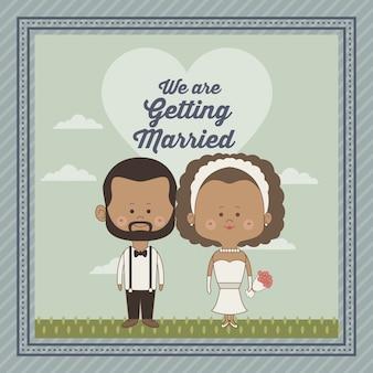 Декоративная рамка только что женился пара невесты и жениха брюнетка