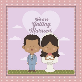 Декоративные рамки только что женился пара невесты и жениха кожи брюнетка