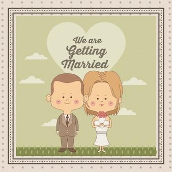 Декоративная рамка только что женился пара невесты с блондинкой волосы и жених со стрижкой