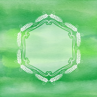 Decorative frame on watercolour background