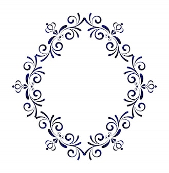 Decorative frame victorian style, element for design template, blue floral border