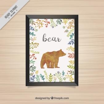 곰과 꽃 수채화 장식 프레임