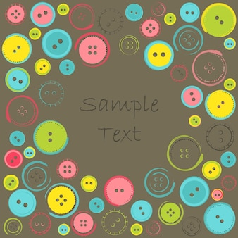 Decorative frame with circle of buttons over dark. vector illustration with sample text